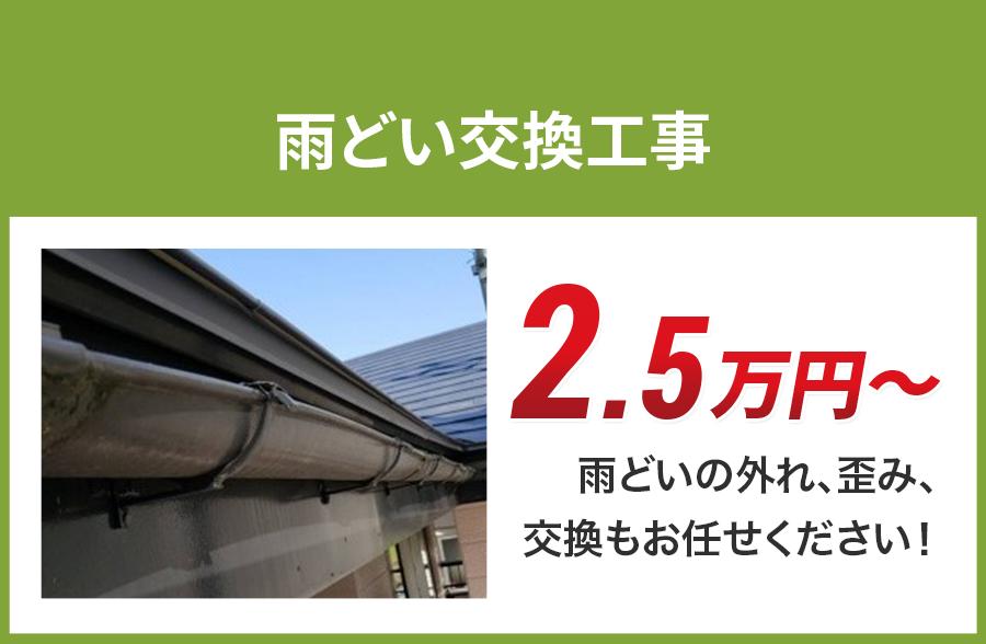 広島県の雨どい交換工事料金 樹脂製、高耐久雨どい